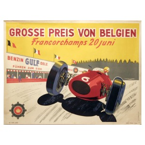 Original artwork prepared in advance of the 1954 Belgian GP at Circuit-de-Spa-Francorchamps