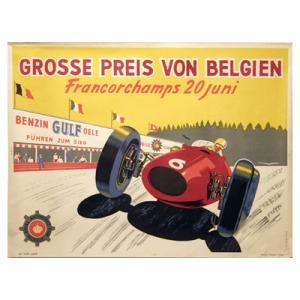 Original artwork prepared in advance of the 1954 Belgian GP at Circuit-de-Spa-Francorchamps