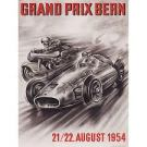 Official Playbill/Poster advertising the 1954 Swiss GP showing a race car and motorcycle.
