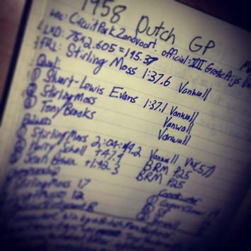 A photograph of my race notes for the 1958 Dutch Grand Prix