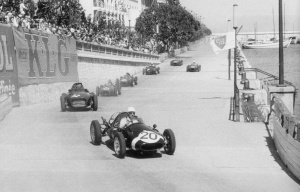 Black and White Photo of Maurice Trintignant leading 58 Monaco GP
