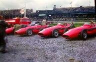 The factory Maserati cars at the 1957 British GP at Aintree.
