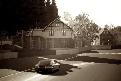 Gran Turismo Digital Photo of E-Type Jaguar approaching La Source Hairpin